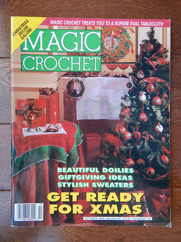 Zauberhafte häkeln Magazin Oktober 1994 # 92 / Diagramme, Weihnachtsdekoration, ovale Tischdecke, Deckchen Schneeflocken Mode Puppenkleid filet Engel ...