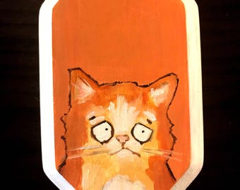 Cat Portrait on Wood #1 Original Painting