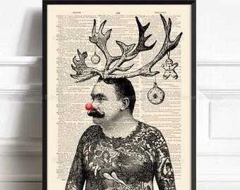 Rudolf, Rudolph Red Reindeer, Red Nosed Reindeer, Christmas Poster Art, Friend Poster Gift, Funny Home Print, Geek Antlers, Wall Hanging 228