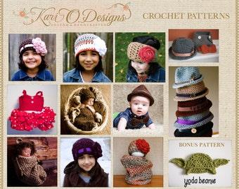 9 PDF Crochet Patterns Bundle plus bonus Yoda Beanie Pattern