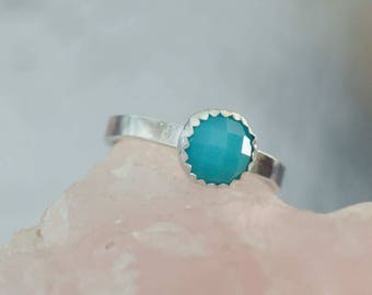 Blue Chalcedony Stacking Ring in Sterling Silver, Size 7