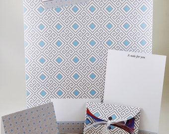 Blue Symmetry of Squares, Personalised Stationery Set,Personalized Geometric Stationary, Designer Note Cards with envelope, Gifting Solution
