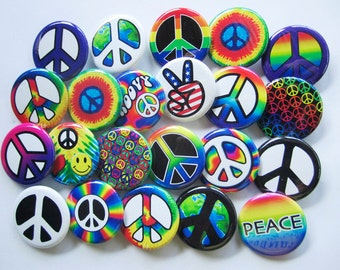 "24 Peace Sign Pins Pack of 2 Dozen Assorted Small Colorful 1.25"" Pinback Peace Badges or Buttons"