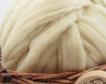 White Eider Wool Top Roving - Undyed Natural Spinning & Felting Fiber / 1oz
