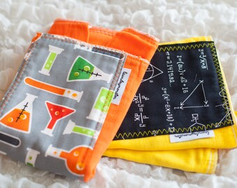 Baby burp cloth set - chemistry set yellow and orange hand dyed burp cloth set laundrymonster