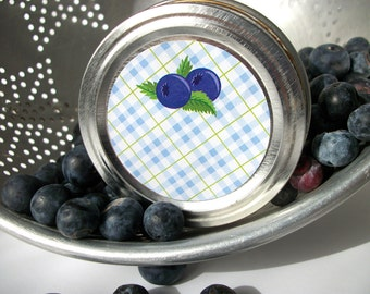 Plaid Blueberry canning jar labels, round blue mason jar stickers for fruit preservation, cottage chic preserves jam and jelly jar labels
