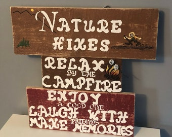 Nature Hikes Relax by the Campfire Enjoy a Cold One Laugh with Friends Make Memories Pallet Wall-Hanging