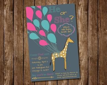 Giraffe Balloon Gender Reveal Party Invitation