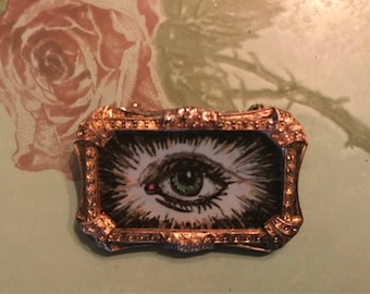 All-Seeing Sacred Eye Hand Painted Glass Brooch - Spiritualism Occult Psychic Medium