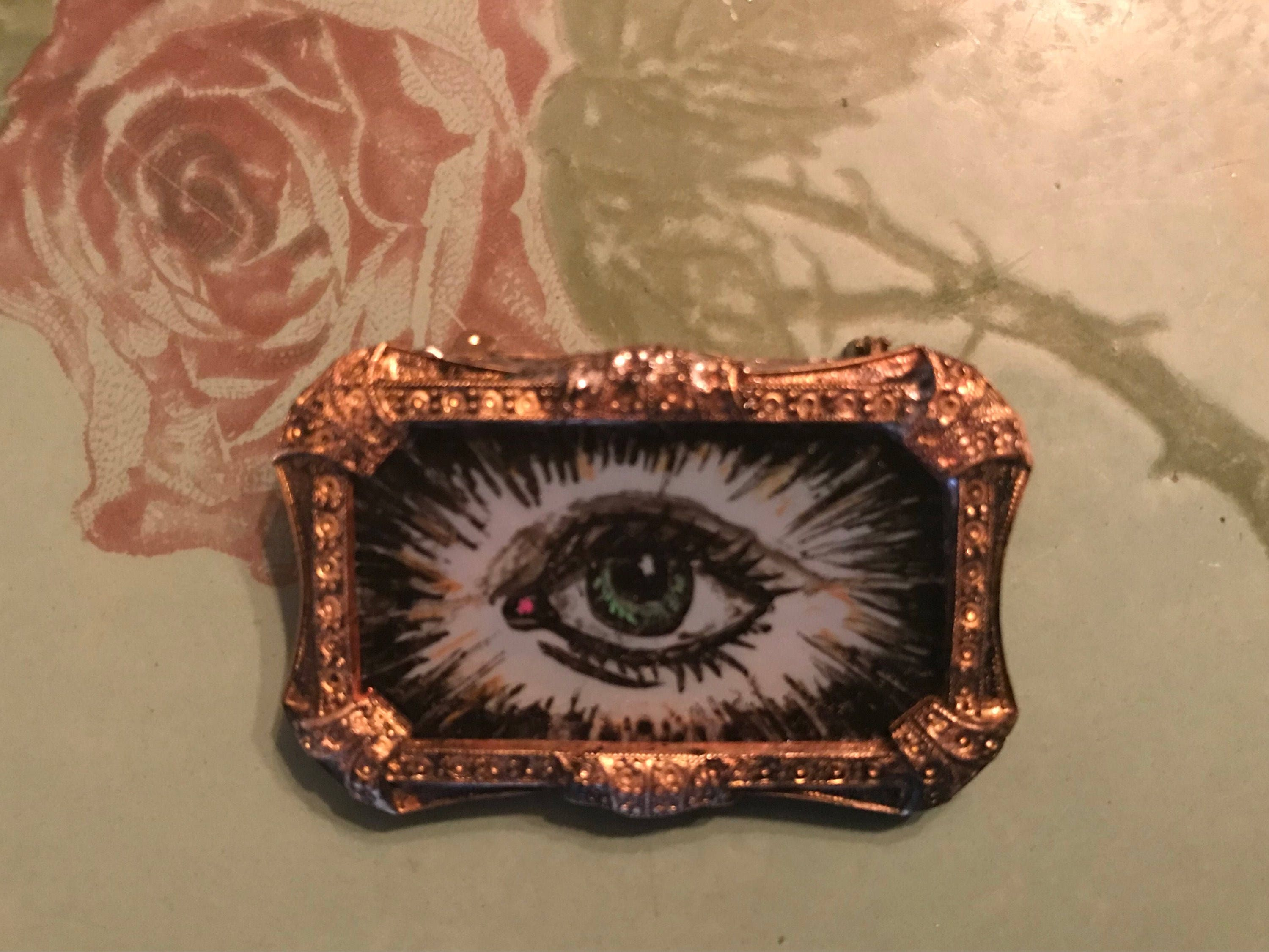 brooch eye studio vintage made amethyst artist surrealist sterling pin silver ebay