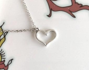 Tibetan Heart Necklace Silver Boho Simple Minimalist Love Necklace Bridesmaid Wedding 4217