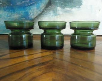 Dansk IHQ Jens Quistgaard Candle Holders . Set of 3 Green Glass