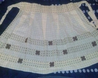 SALE! YELLOW gingham new vintage apron with cross stitch and embroidery - cute!