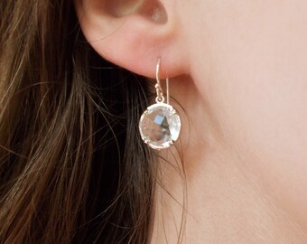 Silver and Clear Stone Dangle Earrings - Bridal Jewelry - Bridesmaids Earrings