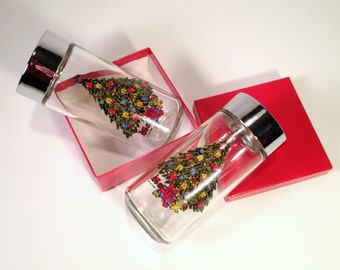 Christmas Tree Salt & Pepper Shakers | Glass + Chrome Holiday Spice Jars