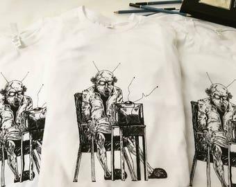 "Art on tee shirt, ""Brainwashed"" design, surreal, creepy, freaky, art on shirt, weird gift"