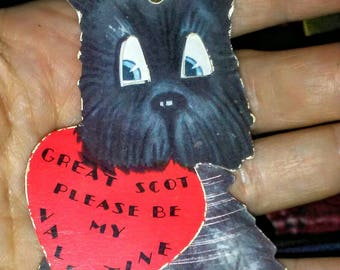 Vintage Scotty Dog Mechanical Valentine Card