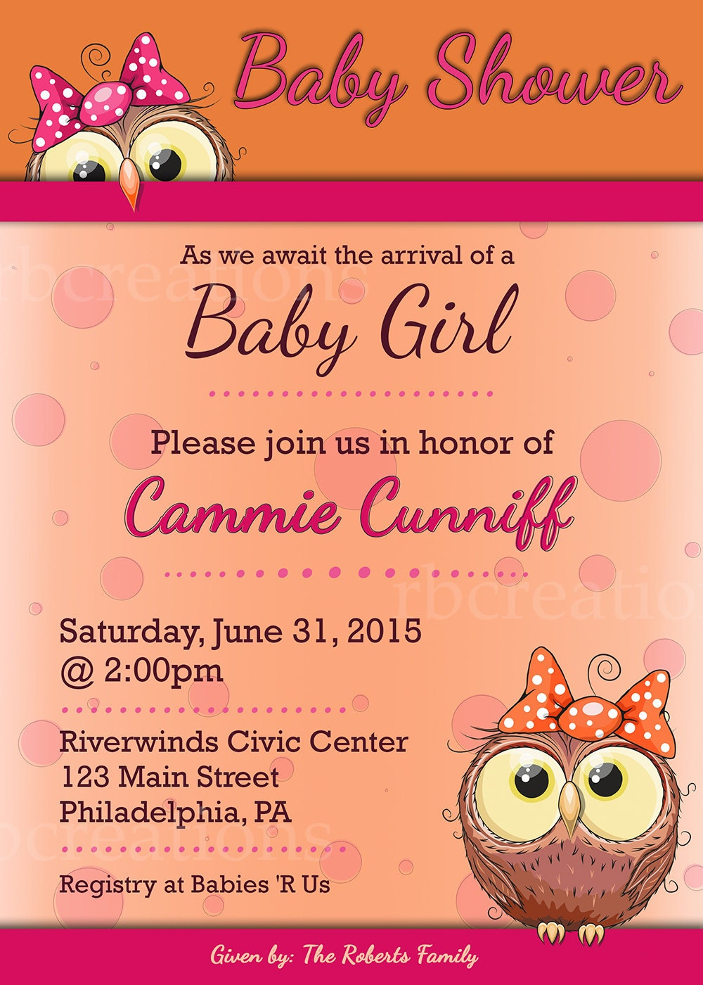 Owl Baby Shower Invitation, Baby Shower Invites, Baby Shower ...