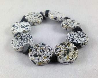 Silver, Gold, Black and White Speckled Stretch Bracelet with Obsidian Accents, Stretch Bracelet, Lightweight