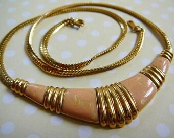 Vintage .. Necklace Signed Flexible Goldtone Collar Enamel avon peach