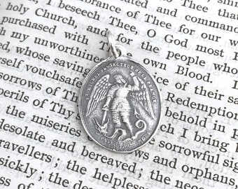 St. Michael the Archangel and Blessed Mother - Two Way MEDAL - Sterling Silver - Vintage Replica - Made in the USA