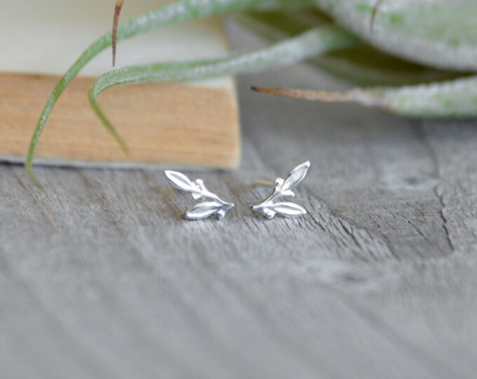 Little Leaves Stud Earrings, Small Earring Studs In Sterling Silver, Handmade In England