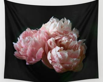 Floral Tapestry Wall Hanging, Pink Peonies, Floral Photography, Peony Print, Shabby Chic Decor, Cottage Decor, Boho, Floral Wall Decor