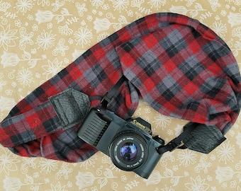 Plaid Camera Strap, dSLR Camera Strap, Camera Accessory, Photography Supplies, Red Grey & Black Plaid, Photographer Gift, Neck Strap