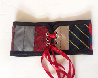 Ove of a kind upcycled Silk tie corset style belt. Free shipping within Canada!