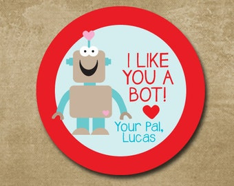 Robot Valentine Day Stickers, Boys Personalized Valentine Day Treat Bag Labels, I like you a bot, Classroom Valentines