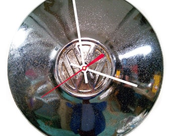 VW Bug Clock - Volkswagen Beetle Hubcap - Retro Volkswagon - VW Bus Hub Cap - Classic Car Industrial Wall Decor