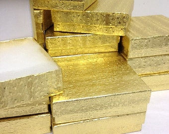 Gold Foil Boxes - 20-count (3.5 x 3.5 x 1 in.) Square Cotton Filled Boxes