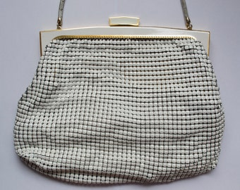 Vintage 1950s Bone White Glomesh Bag