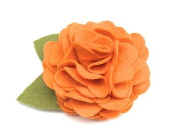 Pumpkin Felt Dog Collar Flower