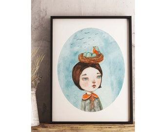 THE NEST - A family of red finches nesting on my porch lamp inspired this surreal female portrait watercolor painting by Danita Art