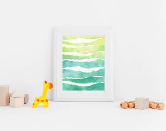 Green Abstract Watercolor Print, Digital Download from Original Painting