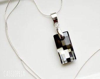Swarovski Black Diamond Crystal Pendant, Swarovski Crystal Silver Night Necklace, Crystal Night Swarovski Pendant,Crystal Black Pendant