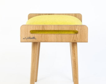 Stool / Seat / Ottoman / bench made of solid oak table, oak legs, upholstered in cold wool yellow