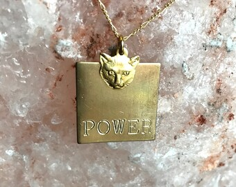 Pussy Power Engraved Charm Necklace