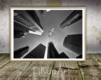 Building Print, Building Photo, Large Poster, Skyscrapers Print, Aircraft Photos, Airplane, Architecture, Instant Download, Download Prints