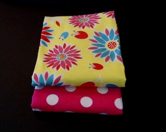 Sewing Fabric Snuggle Fabric Bundle  Floral and Hot pink flannel Fabric for sewing FAST SHIPPING DAILY