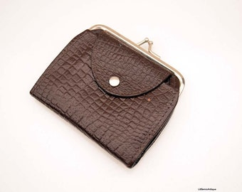 Vintage Dark Brown Leather 'Chaika' Made in Bulgaria Small Ladies Purse