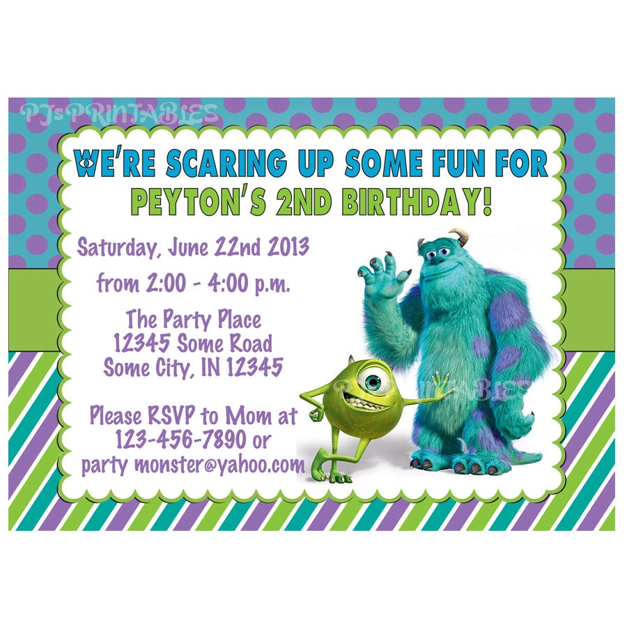 Monsters Inc Birthday Invitation Custom Digital File