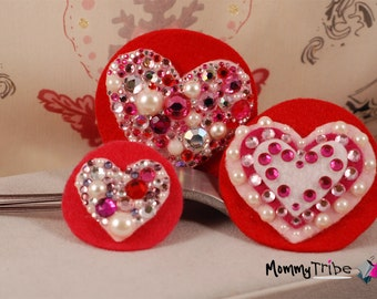 Matching Hairclips Mommy and Me, Bridesmaid, Flower Girl Pink and Red Heart Barrettes and Hairclip set