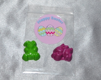 Rabbit Bunny Crayons And 2 Inch Round Stickers, Total of 40 Bunny Crayons And 20 Stickers.  Easter Party Favors, Easter Crayons.