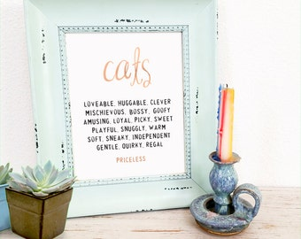 CATS Typography Gold Foil Art - Foil Prints, Wall Art Decor & Gift Prints,  8x10