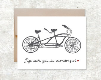 Tandem Bike Card - Life With You Is Wonderful - Love Card - Valentines Day Card - Wedding Card - Anniversary Card