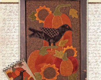 Pumpkins in the Sunflowers, Wool Applique Pattern