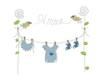 Baby clothesline  embroidery design -