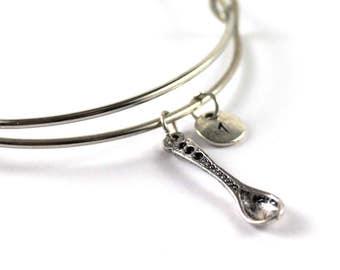 SPOON bangle, silver spoon bracelet, spoon charm, initial bracelet, adjustable bangle, personalized jewelry, swarovski birthstone, gift